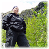Tracey in front of a Mountain in VT before a climb